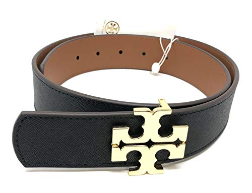 Tory Burch Women's Reversible Logo Leather Belt, Black/Classic Tan (Small)