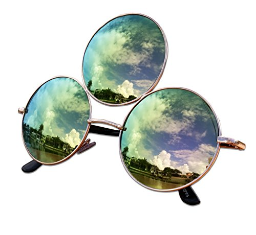 Third Eye Sunglasses, Emerald Green with Pink Reflective Lens