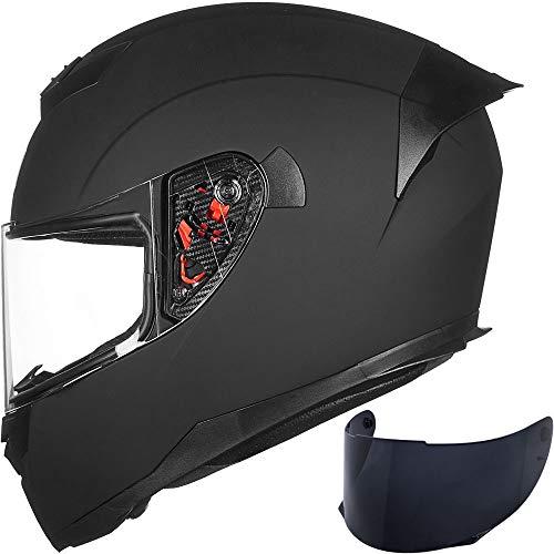 ILM Full Face Motorcycle Helmet for Motocross Street Bike DOT Certified (Matte Black, L)