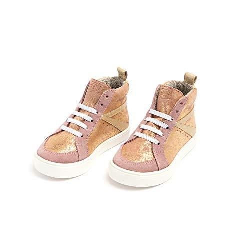 Freshly Picked - Little/Big Girl Boy Kids Leather High Top Sneaker - Size 6 Rose Gold Metallic