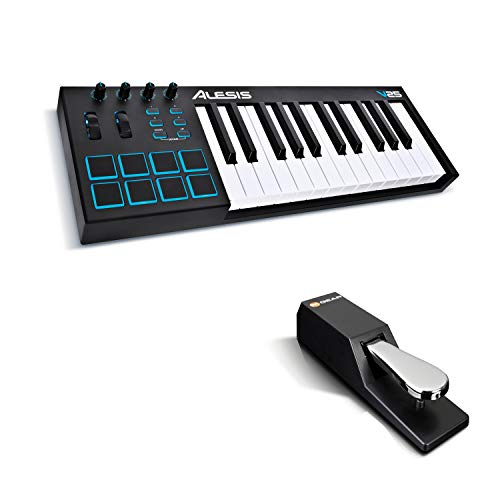 MIDI Controller Bundle | 25 Key USB MIDI Keyboard with 8 Beat Pads, Sustain Pedal and Software Suite – Alesis V25 and M-Audio SP-2