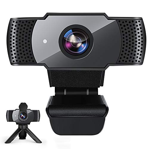 Webcam with Microphone for Desktop, 1080P HD USB Computer Cameras with Privacy Shutter&Webcam Tripod, Streaming Webcam with Wide Angle Webcam for Conference/Gaming/Calling/Zoom