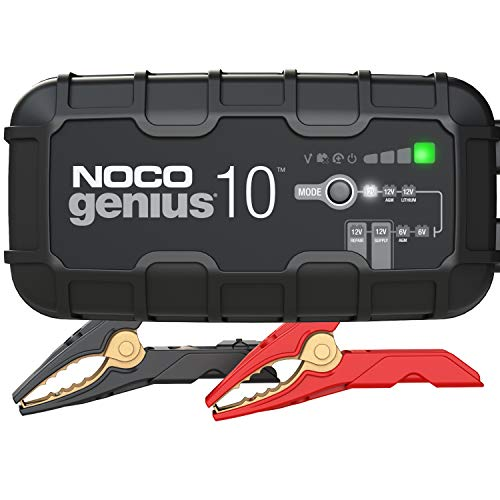 NOCO GENIUS10, 10-Amp Fully-Automatic Smart Charger, 6V And 12V Battery Charger, Battery Maintainer, And Battery Desulfator With Temperature Compensation