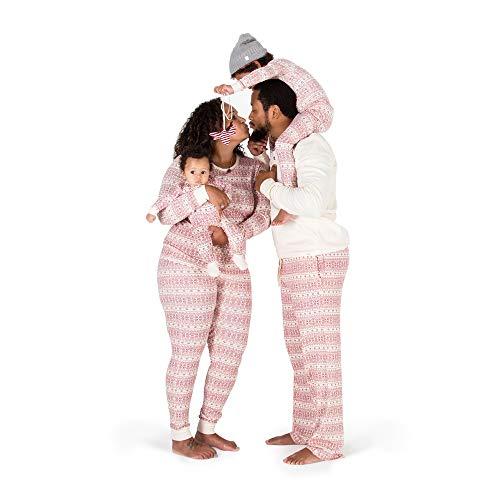 Burt's Bees Baby Kids' Toddler & Kids Family Jammies, Matching Holiday Pajamas, Organic Cotton PJs, Fair Isle Ivory, 12 Months