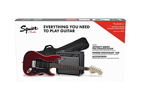Squier by Fender Affinity Stratocaster Beginner Pack, Laurel Fingerboard, Candy Apple Red, with Gig Bag, Amp, Strap, Cable, Picks, and Fender Play
