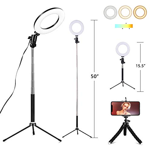 6' Selfie Ring Light with Tripod Stand & Cell Phone Holder for Live Stream Makeup,Mini Led Camera Ring Light Table Lamp Fill Light for YouTube Video Photography Shooting Vlog USB Plug