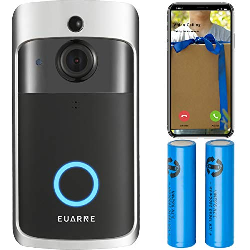 EUARNE WiFi Video Doorbell Wireless Door Security Battery Camera, PIR Motion Detection, Night Vision 1080P Two-Way Audio, Only Works with 2.4GHz WiFi