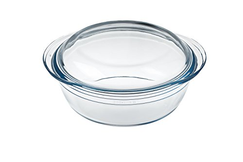 Ôcuisine 208AC00 Round Casserole Glass Dish, 3 L, Clear