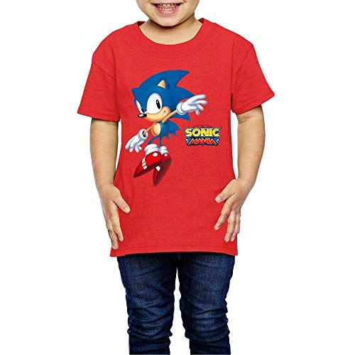 WSNB Washed Cotton Baby Boy Girls Shirt Son-ic - Man-ia Cute Toddler Kids Summer T Shirt Funny Red, 3T