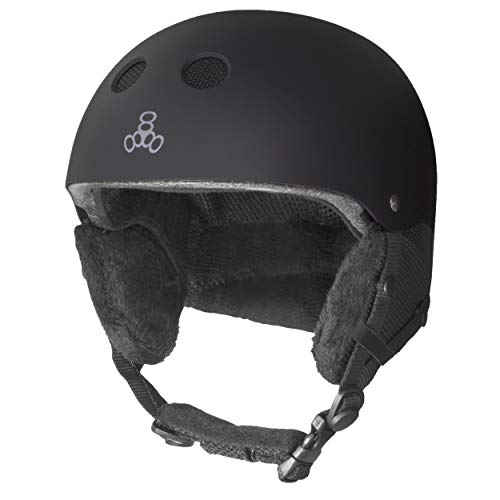 Triple Eight Halo Snow Standard Snowboard and Ski Helmet, Safety Certified with Dial Fit, Black, Small/Medium