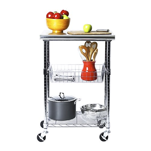 Seville Classics Stainless-Steel Professional Kitchen Work Table Cart Utility NSF-Certified Storage, 24' W x 20' D x 36' H, Chrome