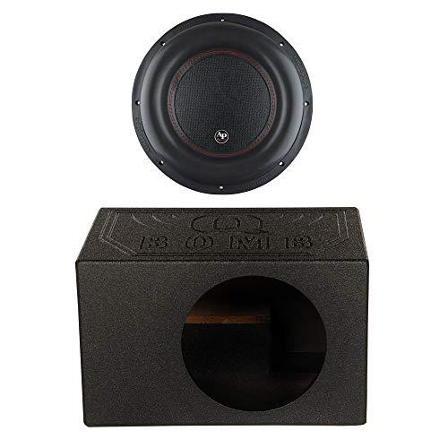 AudioPipe TXX-BDC4-12 Dual 4 Ohm 12 inch 2,200 Watt Car Speaker Subwoofer Bundle with QPower QBOMB12VL Single 12 Inch Vented Ported Car Subwoofer Sub Box Enclosure with Bedliner Spray
