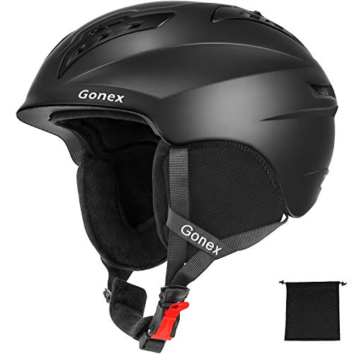 Gonex Ski Helmet - ASTM Certified Safety - Winter Snow Helmet Snowboard Skiing Helmet with Safety Certificate for Men, Women, Youth, Storage Bag (Black L)