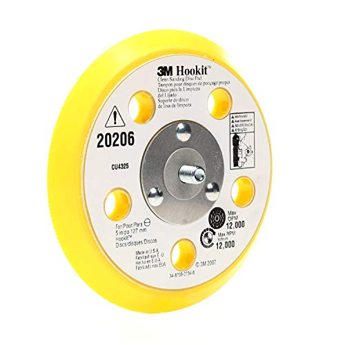 3M Hookit Clean Sanding Back Up Pad - Hook and Loop Attachment - 31 Vacuum Holes, For use with 3M Clean Sand System - 5' x .5' x 5/16-24 External Thread - 20206 - Pack of 10
