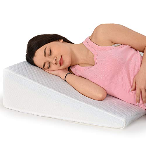 Healthex Bed Wedge Pillow Cooling Gel Memory Foam Top - Acid Reflux, Heartburn, Allergies, Snoring - Ultra Soft Soft Removable Cover 8 inch Wedge