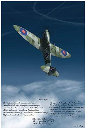 High Flight Poem Giclee Art Print Poster from Original Aviation Painting & Illustration by Artist Adam Burch 24' x 36'