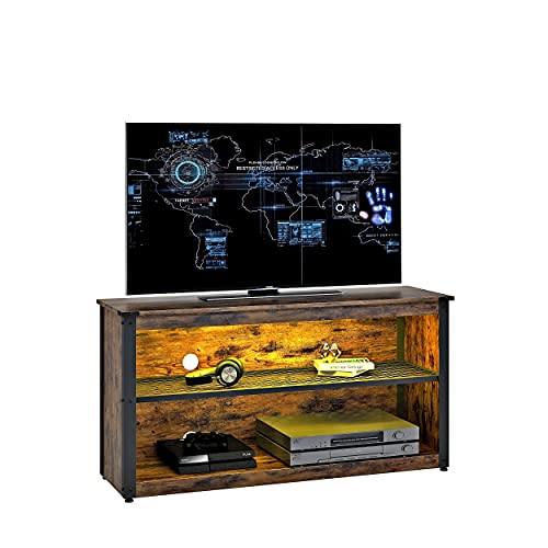 BESTIER 44' Gaming TV Stand for Bedroom Small Gaming Entertainment Center for 50' TV RGB TV Stand with LED Lights Storage Shelves 20 Lights up Corner TV Console Table Living Room, Rustic
