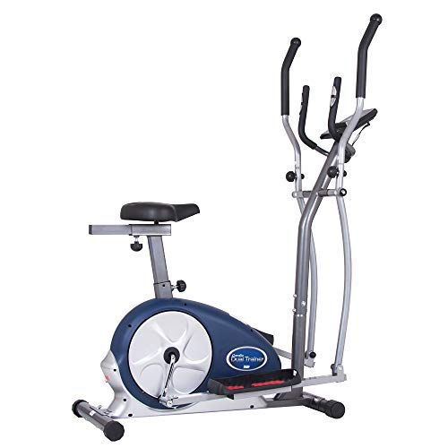 Body Max Body Champ 2 in 1 Cardio Dual Trainer | Elliptical Workout and Upright Exercise Bike with Heart Rate, Computer Resistance Exercise Machine | BRM3671 model