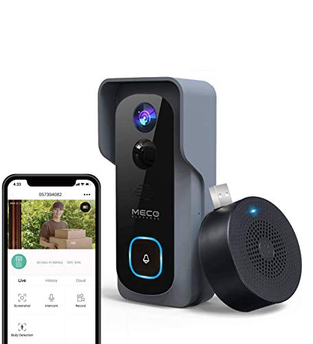 【32GB Preinstalled】WiFi Video Doorbell,MECO 1080P Doorbell Camera with Free Chime, Wireless Doorbell with Motion Detector, Night Vision, IP65 Waterproof, 166°Wide Angle, 2.4GHz WiFi