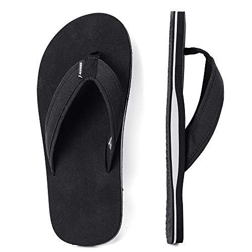 ALEADER Mens Flip Flops Arch Support Sandals for Beach, Casual, Outdoor & Indoor Black 11 D(M) US