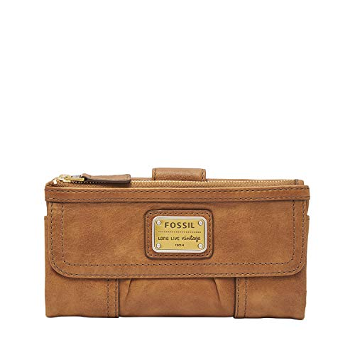 Fossil Women's Emory Leather Wallet Clutch, Saddle, 7.5 L x 1 W 4 H US