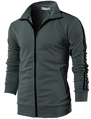 H2H Mens Workout Slim Fit Lightweight Line Training Full Zip-up Jacket Charcoal US L/Asia XL (CMOJA0103)