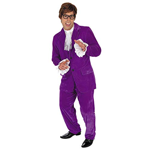Mens 60s Movie Gigolo Costume Adults Man of Mystery Purple Suit Outfit - Medium