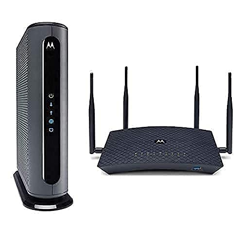 Motorola MB8611 Cable Modem + AC2200 Smart Wi-Fi Router with Extended Range | Top Tier Internet Speeds | Approved for Comcast Xfinity, Charter Spectrum, and Cox – Separate Modem and Router Bundle