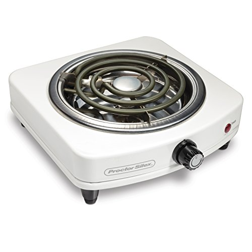 Proctor Silex Electric Single Burner, Compact and Portable, Adjustable Temperature Hot Plate, 1000 Watts, 120V, White & Stainless (34103)