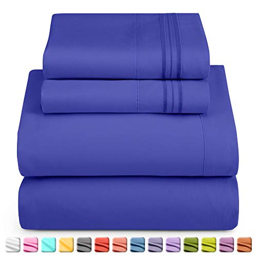 Nestl Deep Pocket Full Sheets: 4 Piece Full Size Bed Sheets with Fitted Sheet, Flat Sheet, Pillow Cases - Extra Soft Microfiber Bedsheet Set with Deep Pockets for Full Sized Mattress - Royal Blue