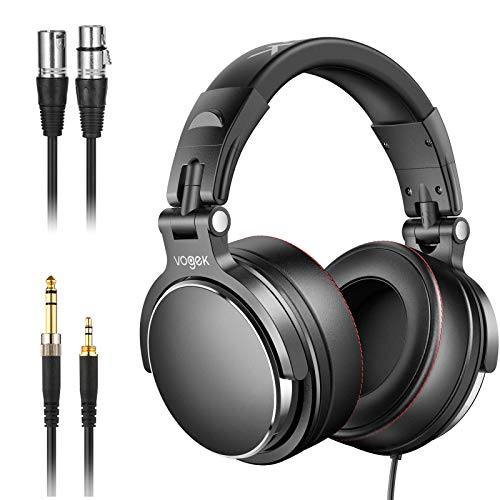 Studio Headphones with 6.6ft XLR Cable, Vogek Professional DJ Headphones Mixing DJ Headset Protein Memory Foam Ear Pads, 50mm Neodymium Drivers Stereo Sound for Electric Drum Piano Guitar AMP