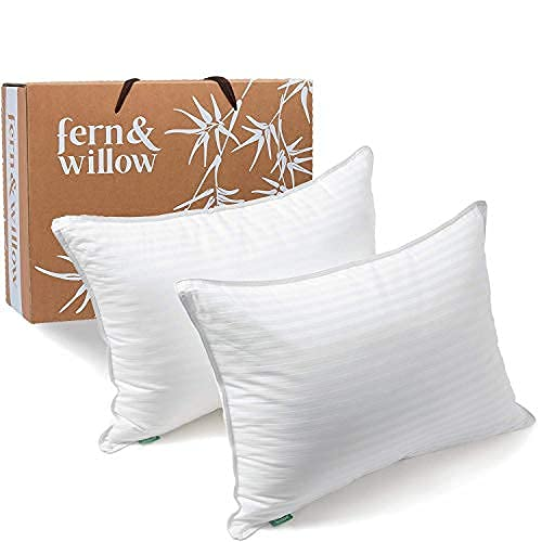 Fern And Willow Pillows for Sleeping - Queen Size, 2 Pack - Premium Down Alternative, Hotel Bed Pillow Set - Luxury, Plush Cooling Gel - Perfect for Back & Side Sleepers