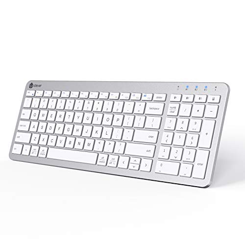 iClever BKA26S Bluetooth Keyboard, Multi Device Keyboard Rechargeable Bluetooth 5.1 with Number Pad Ergonomic Design Full Size Stable Connection Keyboard for iPad, iPhone, Mac, iOS, Android, Windows