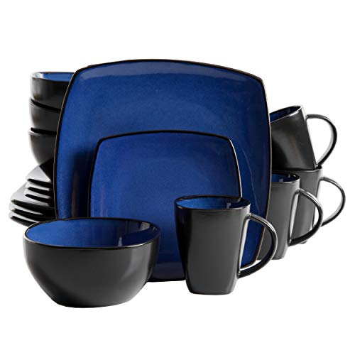 Gibson Soho Lounge Dinnerware set, Square, Blue