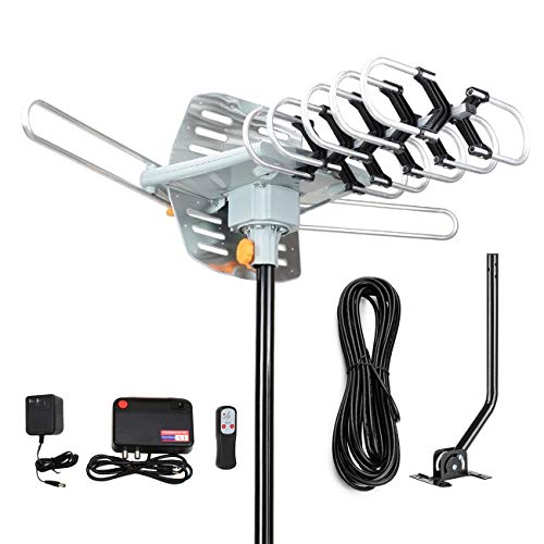 Digital Outdoor Amplified HD TV Antenna 150 Miles Long Range-Support 4K 1080p Firestick 2 TVs with 360 Degree Rotation for All TVs-with Remote Control/33 FT Coax Cable/Adapter/Mounting Pole