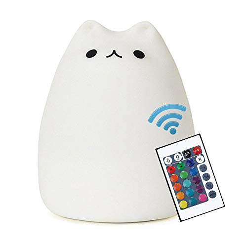 Cat Lamp, NeoJoy Remote Control Silicone Kitty Night Light for Kids Toddler Baby Girls Rechargeable Cute Kawaii Nightlight