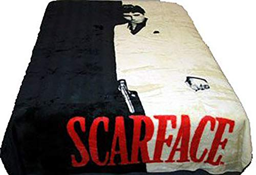 JPI Sherpa Blanket 8.5lbs Fuzzy Blanket Dual-Sided - Scarface Silhouette - Queen Bed 79'x 95' - Faux Fur Blanket for Beds, Sofa, Couch, Picnic, Camping