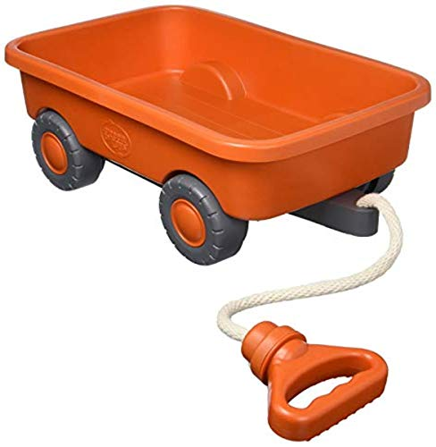 Green Toys Wagon, Orange CB - Pretend Play, Motor Skills, Kids Outdoor Toy Vehicle. No BPA, phthalates, PVC. Dishwasher Safe, Recycled Plastic, Made in USA.