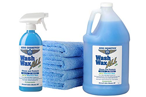 Wet or Waterless Car Wash Wax Kit 144 Ounces. Aircraft Quality for Your Car, RV, Boat, Motorcycle. The Best Wash Wax. Anywhere, Anytime, Home, Office, School, Garage, Parking Lots.