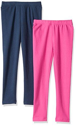 Amazon Brand - Spotted Zebra Kids Girls Cozy Fleece Leggings, 2-Pack Navy/Pink, X-Small