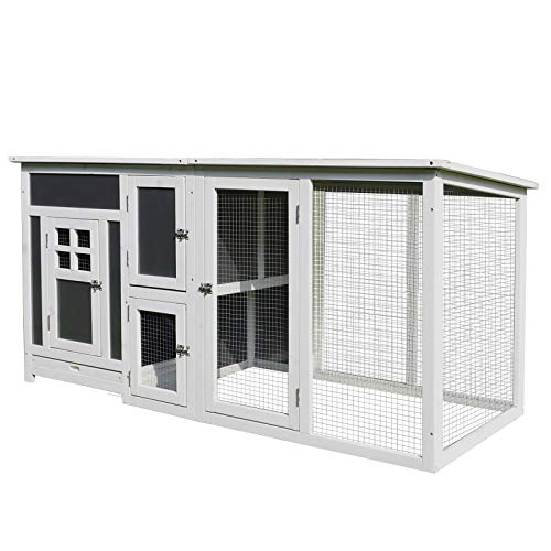 PawHut 63' L Deluxe Wood Chicken Coop Guinea Pig Hutch Small Animal Cage PC Roof w/Run Box
