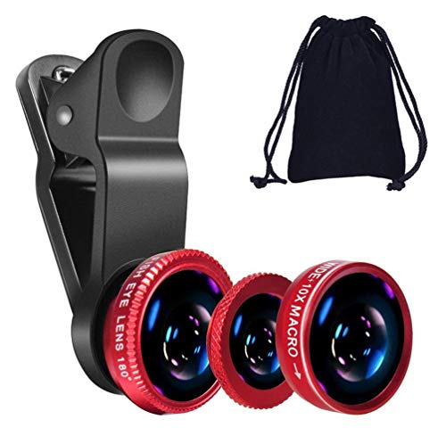 KINGMAS 3 in 1 Universal Fish Eye Lens + Wide-Angle Lens + Macro Clip Camera Lens Kit for iPad iPhone Samsung Android and Most Smartphones