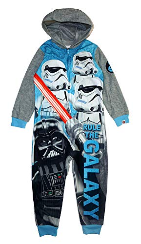 Star Wars Little/Big Boys' Gray Hooded Union Suit Blanket Sleeper (4-5, Grey)