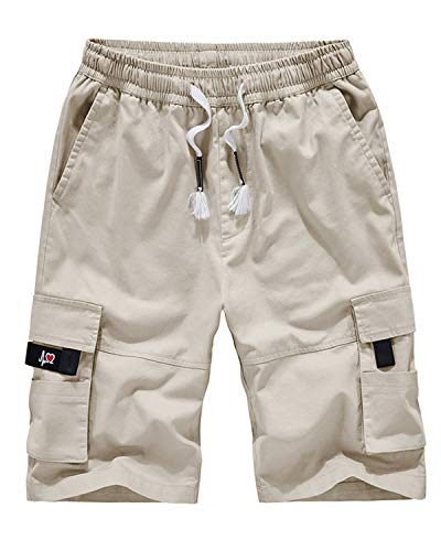 APTRO Men's Cargo Shorts Elastic Waistband Casual Twill Relaxed Fit Summer Short A901 Beige XL