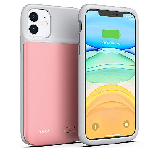 Battery Case for iPhone 11, Swaller 5000mAh Portable Charging Case Rechargeable Extended Battery Pack Charger Case for iPhone 11(6.1 inch) (Pink)