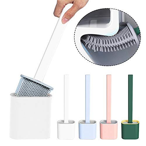 Silicone Flex Toilet Brush with Holder, New Non-Slip Long Handle Toilet Bowl Cleaner Brush, Standing Holder & Wall Mounted Cleaning Brush Silicone Toilet Brush 14.5 In (1PC White)