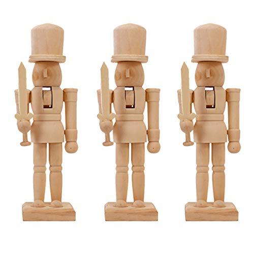 BESTOYARD 3pcs/Set Unfinished Wooden Nutcracker Figures Unpainted Blank Doll DIY Paint Toy Christmas Nutcracker Ornaments