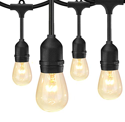 SUNTHIN 48FT Outdoor String Lights with 11W Dimmable Edison Bulbs for Decorative Backyard, Patio, Bistro, Pergola Commercial Hanging Lights String