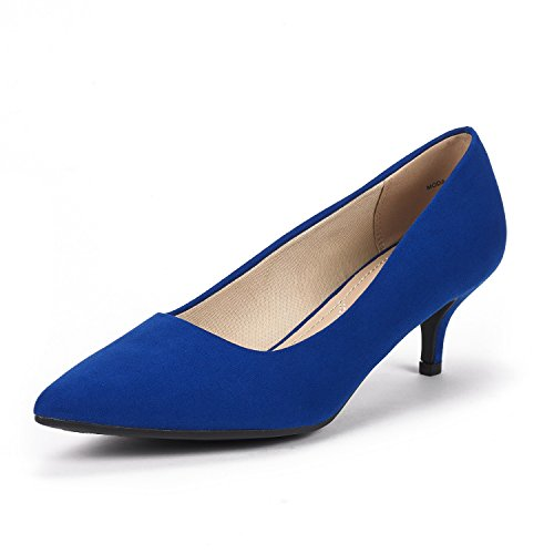 DREAM PAIRS Women's Moda Royal Blue Low Heel D'Orsay Pointed Toe Pump Shoes Size 8 M US
