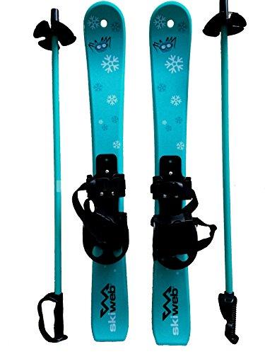 Kids First Plastic Snow Skis & Poles Age 2-4 with Bindings - Fun Beginner Skis 90cm